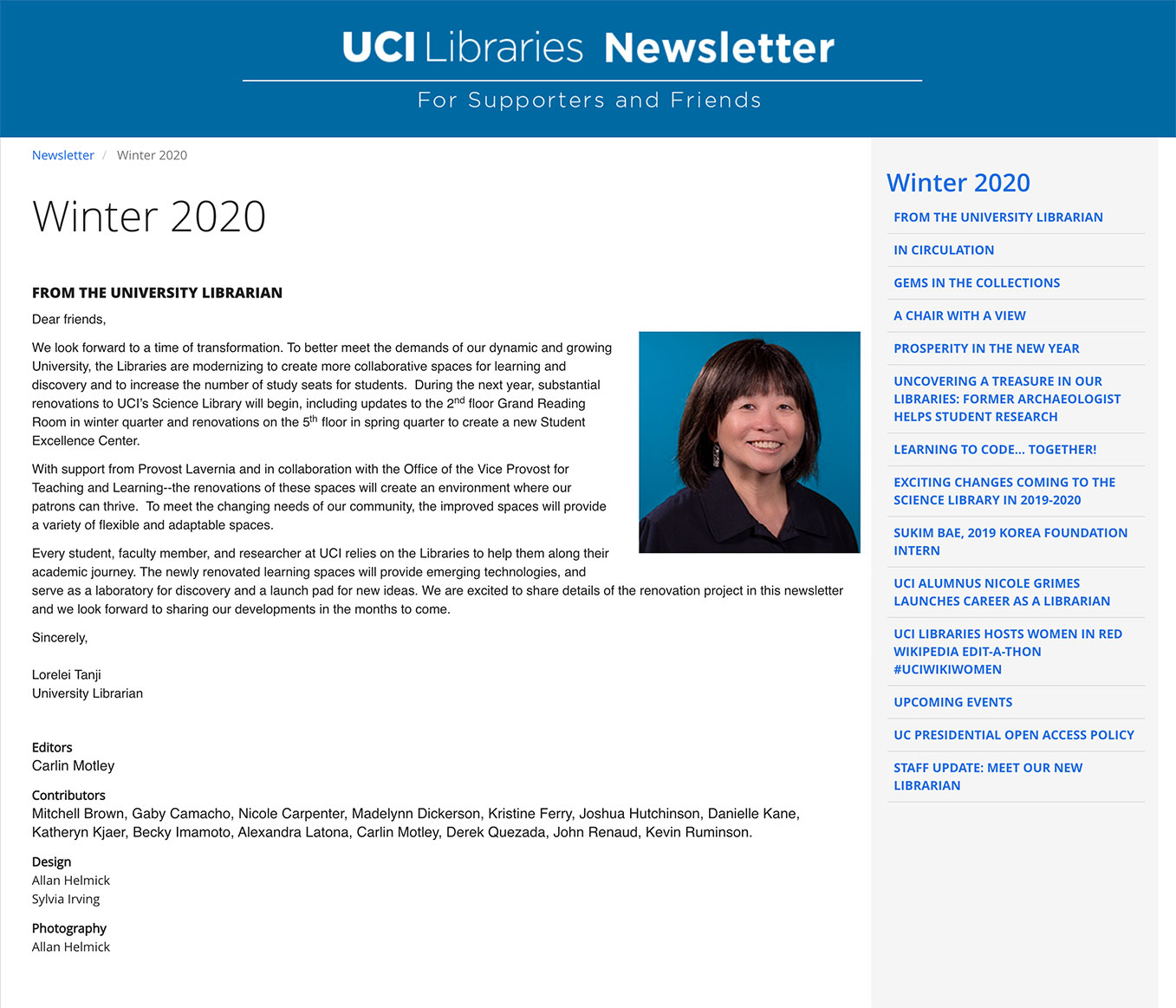 Screenshot of Winter 2020 page